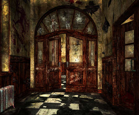 Scary Asylum Interior Background photo