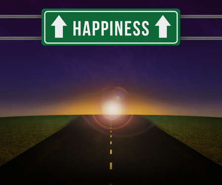 happieness: Happieness Sign on the Road Stock Photo