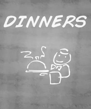 dinners: Dinners Chalkboard Stock Photo