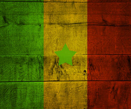 Senegal Flag on Wood photo