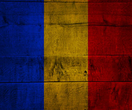 Romania Flag on Wood photo