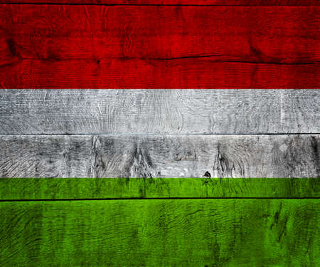 Hungary Flag on Wood photo