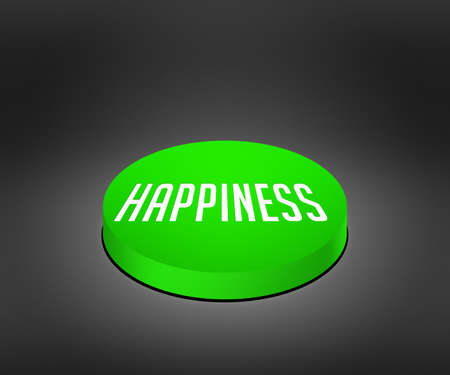 cat5: Happiness Green Button Stock Photo