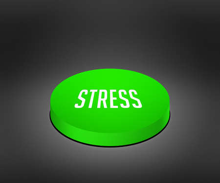 cat5: Stress Green Button Stock Photo