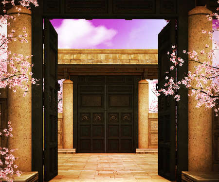 Open Gate Asian Backdrop photo