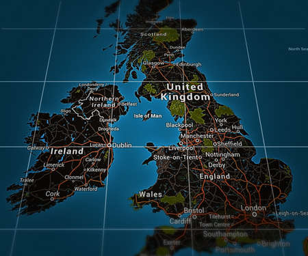 british isles: UK on Map Stock Photo