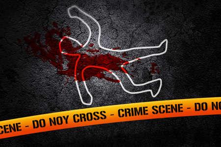 crime: Crime Scene Yellow Tape Stock Photo