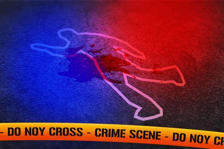 crime scene: Police Lights on Crime Scene