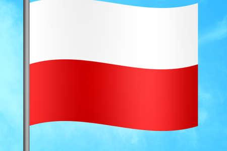 bandera de polonia: ordenador portátil y compras pags sobre fondo blanco. Las 3D. Foto de archivo