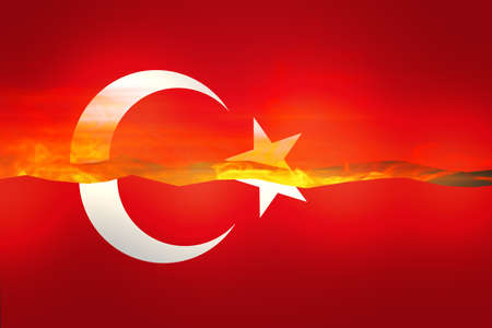 turkish flag: Turkish Flag on Fire Background