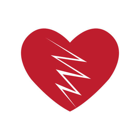 Broken Heart Icon Isolated on White Background