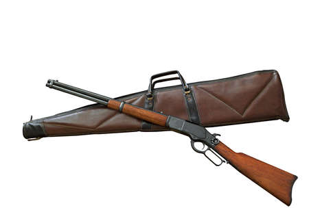 Closeup Antique Rifle with Bag Isolated on White Background, Clipping Path Stock Photo