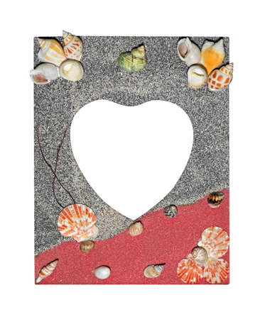 Closeup Colorful Picture Frame Heart Shape Space with Shell on Edging Stock Photo