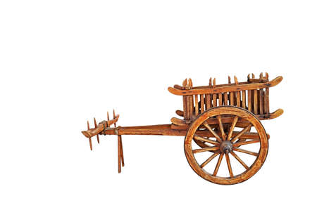 Wooden Bullock Cart Isolated on White Background, Clipping Path Reklamní fotografie
