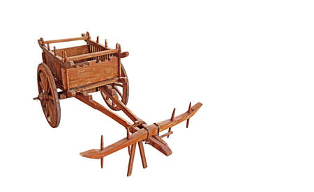 Wooden Bullock Cart Isolated on White Background, Clipping Path