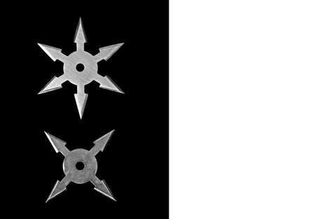 Closeup Ninja Star Shurikens on Black Background with Space for Text, Clipping Path