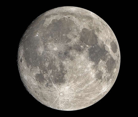 Closeup Full moon Isolated on Dark Sky in Thailand Stockfoto