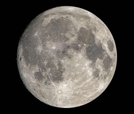 Primer plano de luna llena aislado en el cielo oscuro en Tailandia Foto de archivo