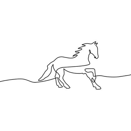 Continuous line drawing of running horse. Vector illustration of an isolated running horse on a white background Illusztráció