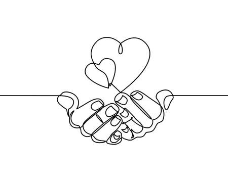 Continuous one line drawing. hands holding heart on white background. Black thin line of hand with heart image. - Vector Illusztráció