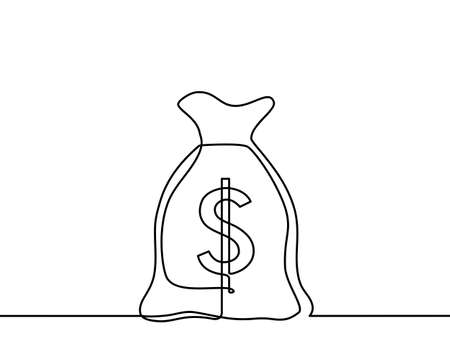 Continuous line drawing of dollar currency. dollar sign isolated on white background. Vector