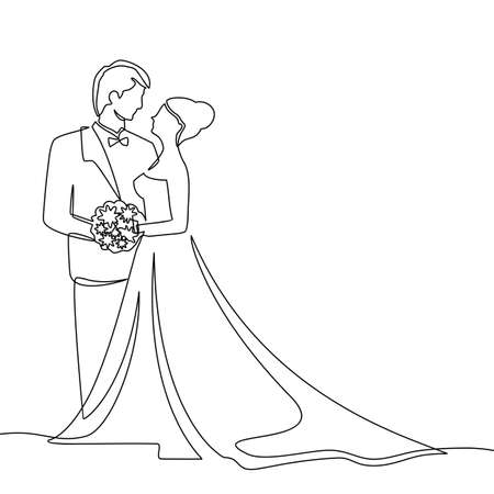 Continuous one line drawing. The character of a bride and groom who are married. Black and white vector illustration. - Vector Foto de archivo - 150068755