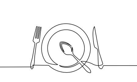 Continuous line drawing of tableware. fork and spoon, knife plates and all eating and cooking utensils, can be used for restaurant logos, cakes, business cards, banners and others. vector illustration Logo
