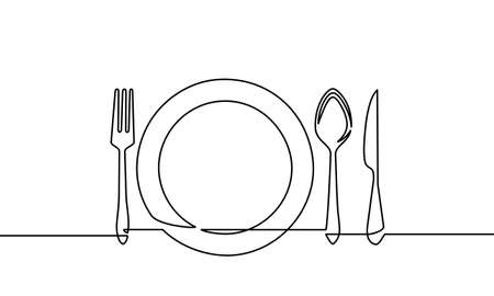 Continuous line drawing of tableware. fork and spoon, knife plates and all eating and cooking utensils, can be used for restaurant logos, cakes, business cards, banners and others. vector illustration