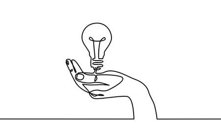 Continuous one line drawing. Hands palms together with light bulb. Black and white background vector illustration. - Vector Archivio Fotografico - 150120741