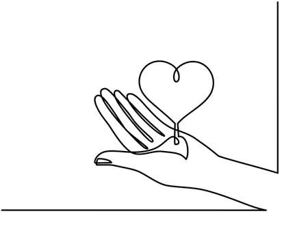 Continuous one line drawing. hands holding heart on white background. Black thin line of hand with heart image. - Vector 向量圖像