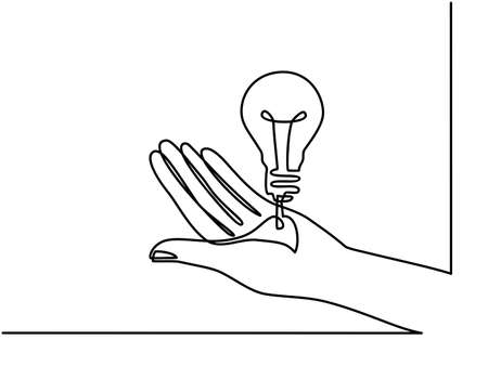 Continuous one line drawing. Hands palms together with light bulb. Black and white background vector illustration. - Vector Archivio Fotografico - 150124008
