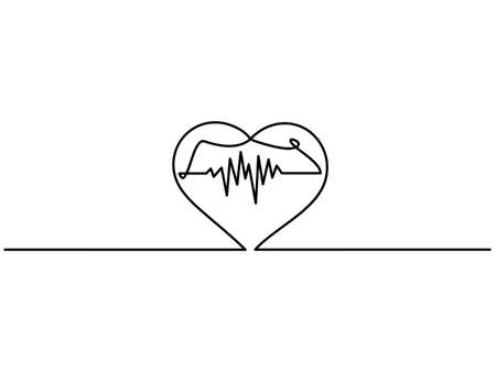 Continuous line drawing of heart heartbeat. heart heartbeat curve on Black and white background.