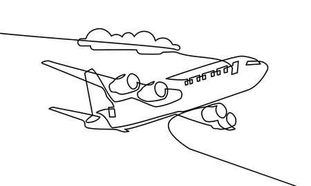 Continuous line drawing of airplane. airplanes on the clouds. Black and white background vector illustration. Vector Ilustración de vector