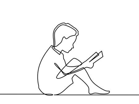 Continuous line drawing. Boy studying with reading book. Back to school concept. Vector illustration on white background - Vector 向量圖像
