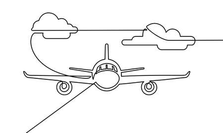 Continuous line drawing of airplane. airplanes on the clouds. Black and white background vector illustration. Vector