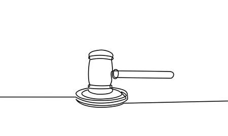 Continuous line drawing of hammer judge on Black and white background.