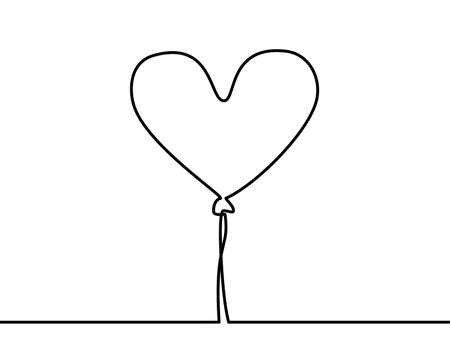 continuous line drawing of heart balloon vector illustration. - Vector