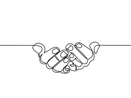 continuous line drawing of prayer hand.