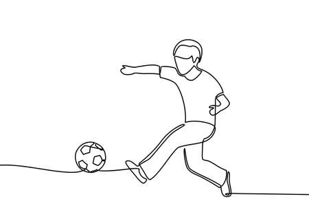 continuous line drawing of Soccer Football Players. soccer players are kicking the ball in the game. a soccer player is controlling the ball isolated on a white background. vector