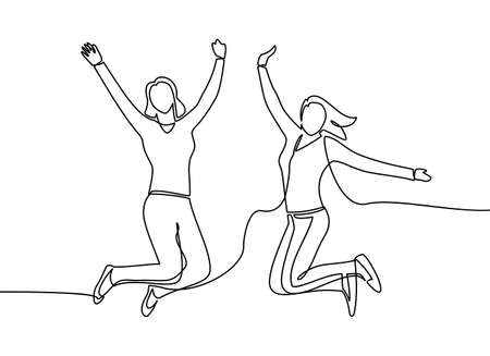 Continuous line drawing of two woman happy jumping in air. a two woman is happy and jumps in the air isolated on a white background. Vector