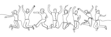 continuous line drawing of jumping happy team members. happiness, freedom, motion and people concept. smiling young friends. a team members is happy and jumps in the air isolated on a white background