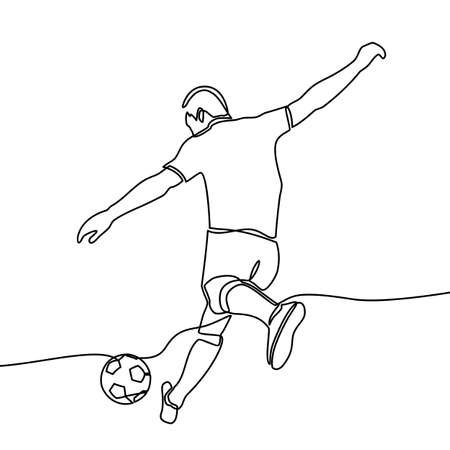 continuous line drawing of Running Soccer Football Players. Footballers Kicking Football Match game. vector Çizim