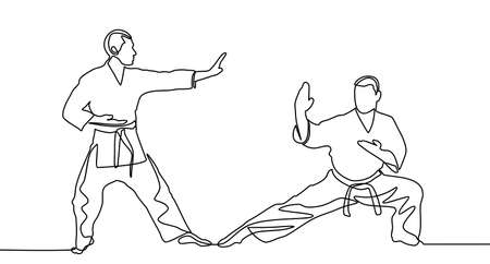 continuous line drawing of two male karate athlete. two male karate athletes doing movements isolated on white background. Vector
