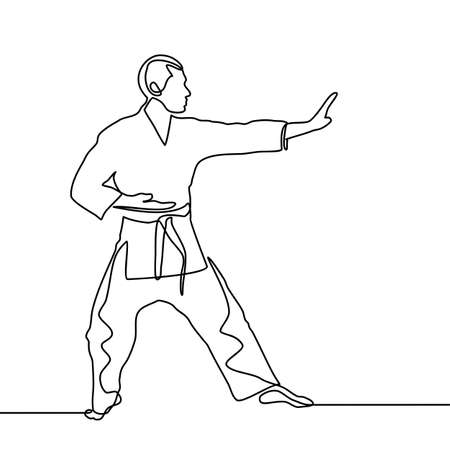 continuous line drawing of one male karate athlete. male karate athletes doing movements isolated on white background. Vector Çizim