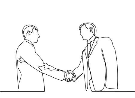 continuous line drawing of concept business people meeting. business people meeting with handshake. Ilustracja