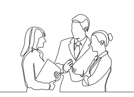 continuous line drawing of concept business people meeting. business partners discussing documents and ideas at meeting.