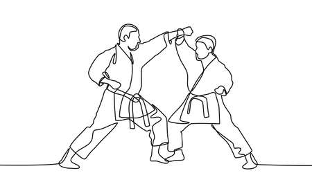 continuous line drawing of one male karate athlete. male karate athletes are concentrating their movements isolated on white background. Vector illustration Vectores