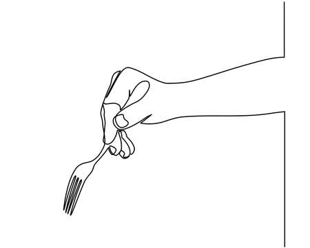 Continuous line drawing of hands holding a fork, spoon. side view of the hand holding a fork to prepare eat. Vector illustration Ilustración de vector