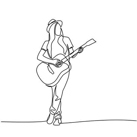 Continuous line drawing of Young woman playing guitar.