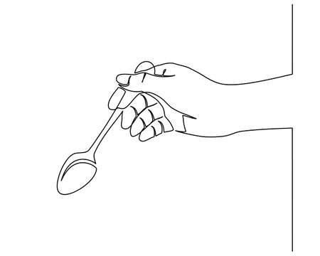 Continuous line drawing of hands holding a spoon. side view of the hand holding a fork to prepare eat.  イラスト・ベクター素材